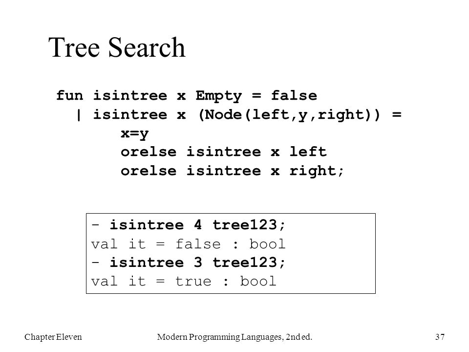Tree Search Chapter ElevenModern Programming Languages, 2nd ed.37 fun isintree x Empty = false | isintree x (Node(left,y,right)) = x=y orelse isintree x left orelse isintree x right; - isintree 4 tree123; val it = false : bool - isintree 3 tree123; val it = true : bool