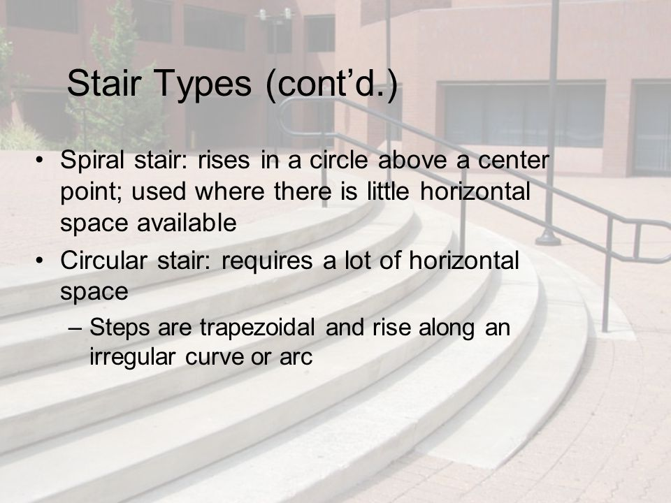 Stair Types (cont'd.) Spiral stair: rises in a circle above a center point; used where there is little horizontal space available Circular stair: requ