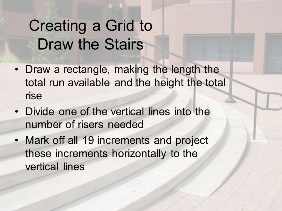 Creating a Grid to Draw the Stairs Draw a rectangle, making the length the total run available and the height the total rise Divide one of the vertica