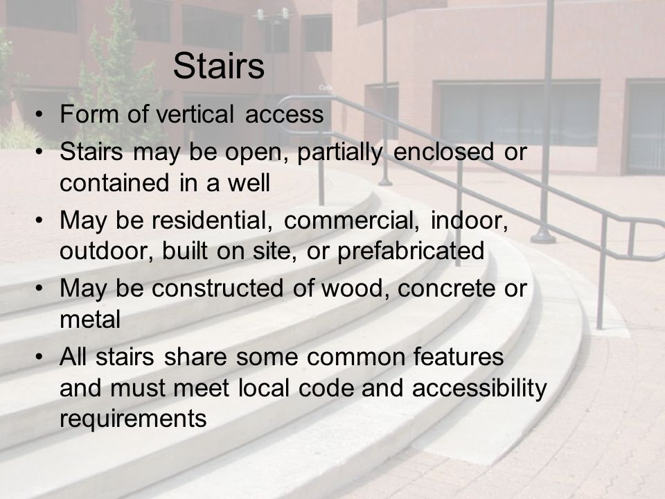 Exterior Stairs (cont'd.) Figure 11.31 Concrete, wood, and open-riser exterior stairs.