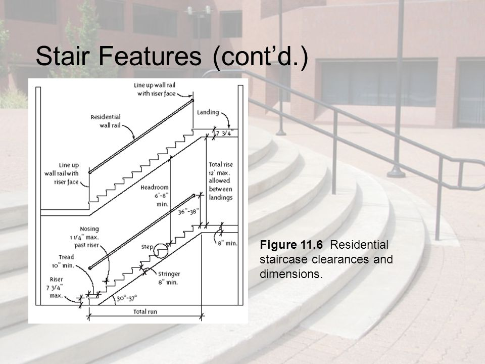 Stair Features (cont'd.) Rise: vertical distance Run: horizontal distance Stairs, stairway, staircase, stairwell, flight: a series of steps or flights of steps used for passing from one floor or landing to another Landing: level rest area on a staircase Stringer: diagonal structural support for the steps