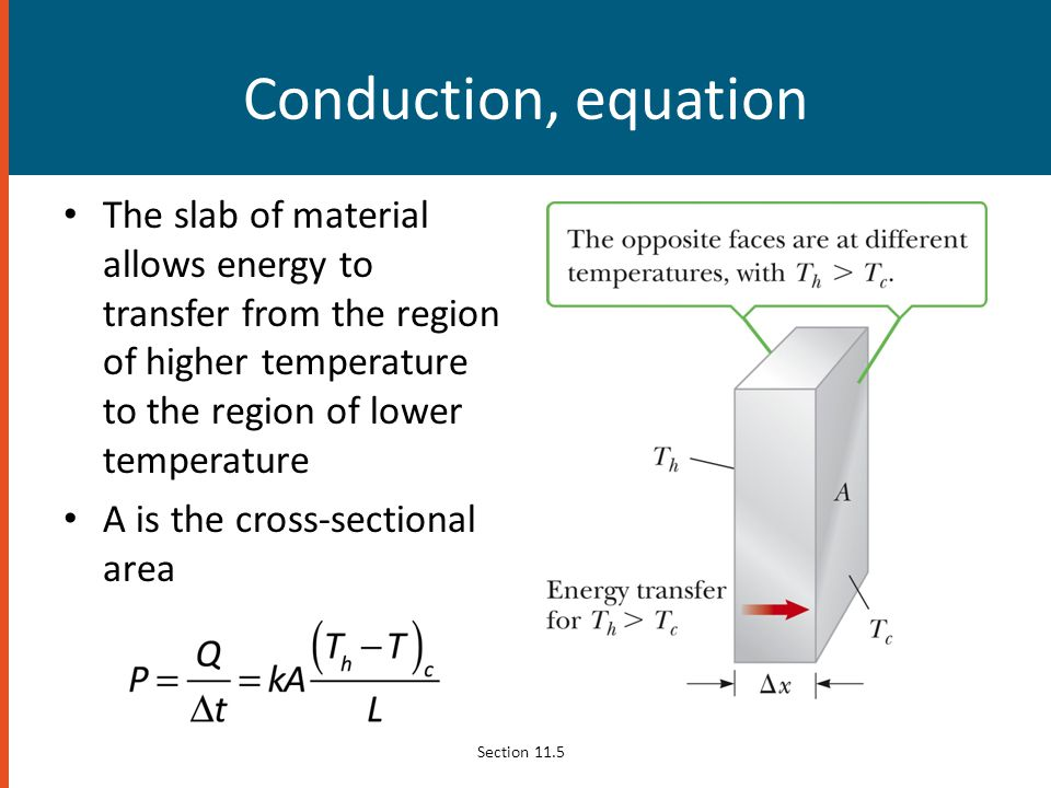 Conduction, equation The slab of material allows energy to transfer from the region of higher temperature to the region of lower temperature A is the