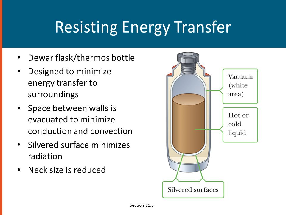 Resisting Energy Transfer Dewar flask/thermos bottle Designed to minimize energy transfer to surroundings Space between walls is evacuated to minimize