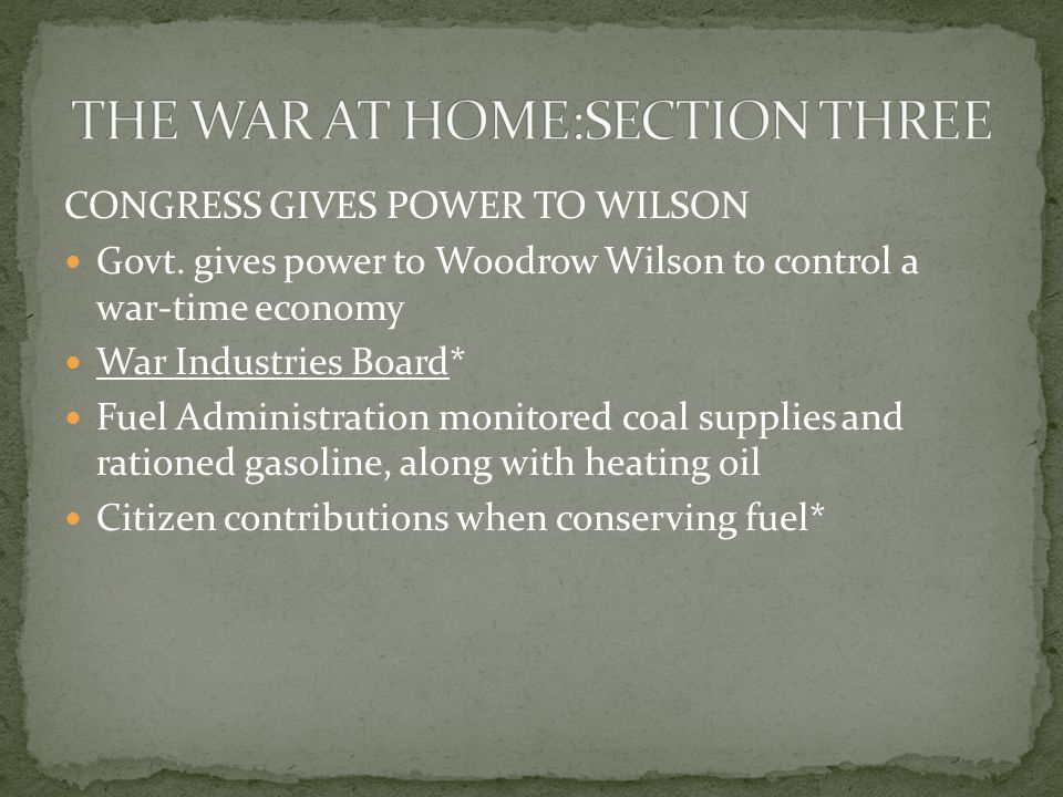 CONGRESS GIVES POWER TO WILSON Govt.
