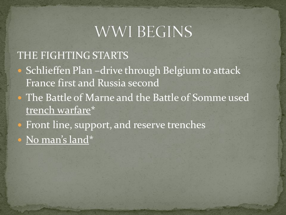 THE FIGHTING STARTS Schlieffen Plan –drive through Belgium to attack France first and Russia second The Battle of Marne and the Battle of Somme used trench warfare* Front line, support, and reserve trenches No man's land*
