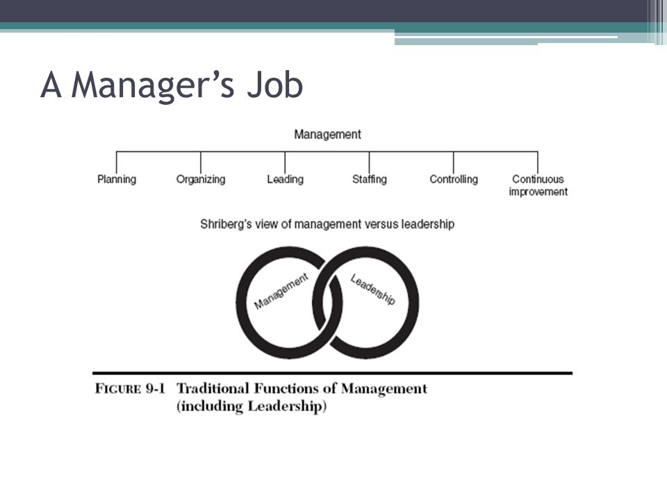 A Manager's Job