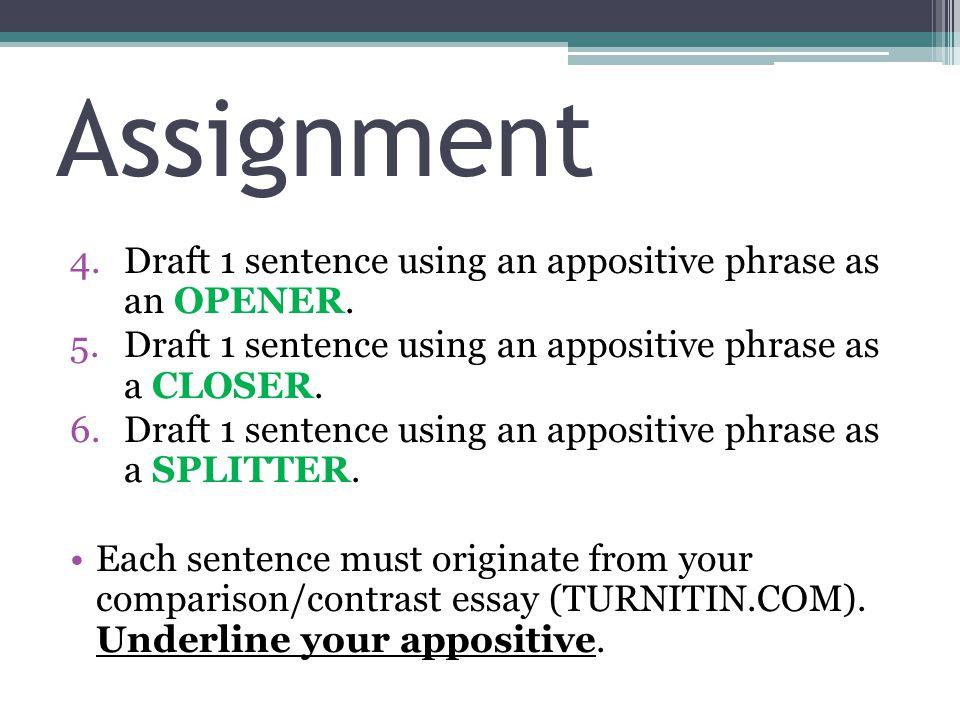 Assignment 4.Draft 1 sentence using an appositive phrase as an OPENER.