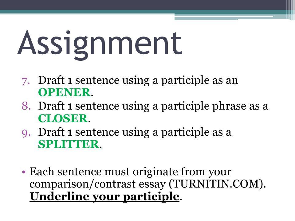 Assignment 7.Draft 1 sentence using a participle as an OPENER.
