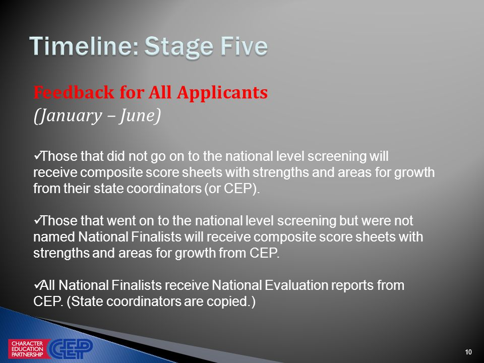 10 Feedback for All Applicants (January – June) Those that did not go on to the national level screening will receive composite score sheets with strengths and areas for growth from their state coordinators (or CEP).