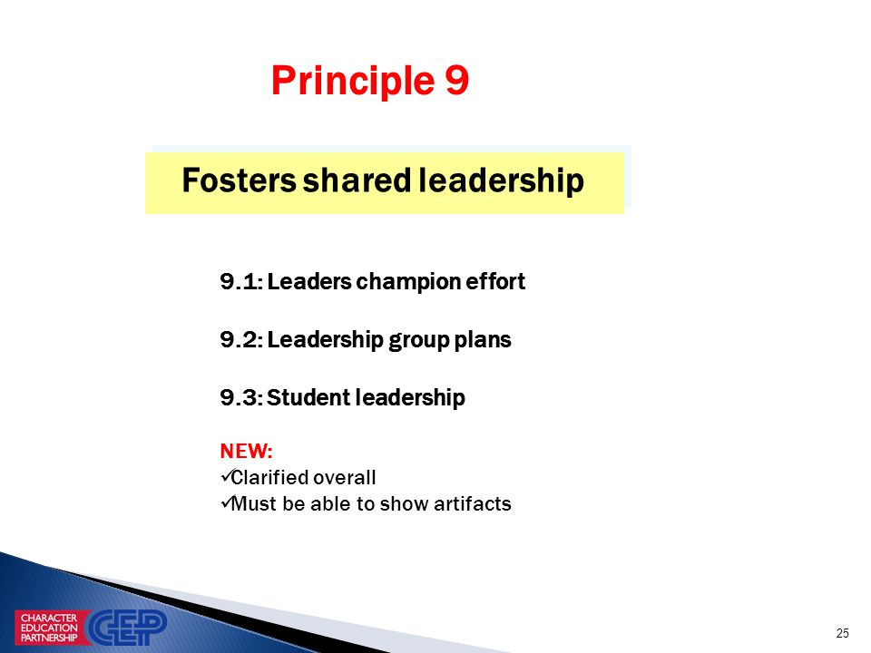 25 Fosters shared leadership 9.1: Leaders champion effort 9.2: Leadership group plans 9.3: Student leadership NEW: Clarified overall Must be able to show artifacts Principle 9