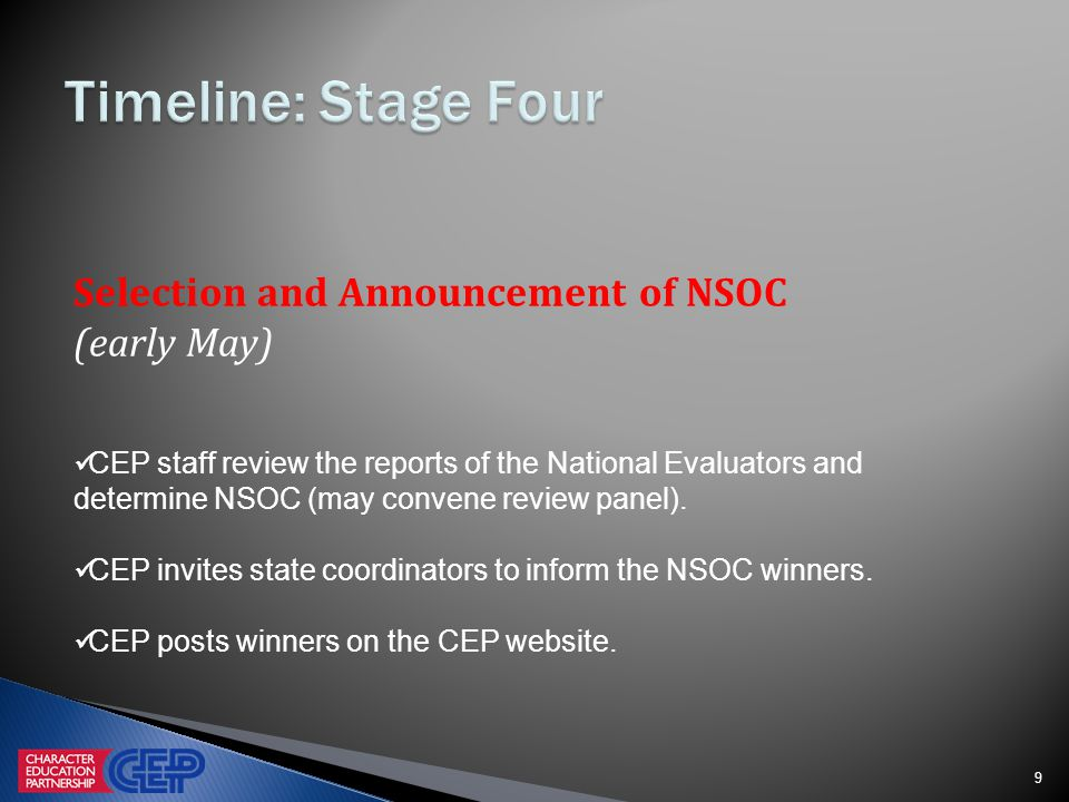 9 Selection and Announcement of NSOC (early May) CEP staff review the reports of the National Evaluators and determine NSOC (may convene review panel).