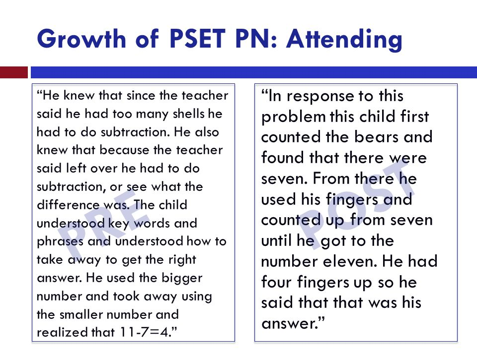 "Growth of PSET PN: Attending ""He knew that since the teacher said he had too many shells he had to do subtraction. He also knew that because the teach"