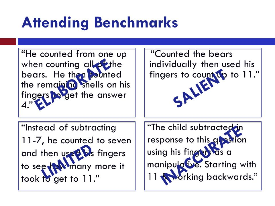 "Attending Benchmarks ""He counted from one up when counting all of the bears. He then counted the remaining shells on his fingers to get the answer 4."""