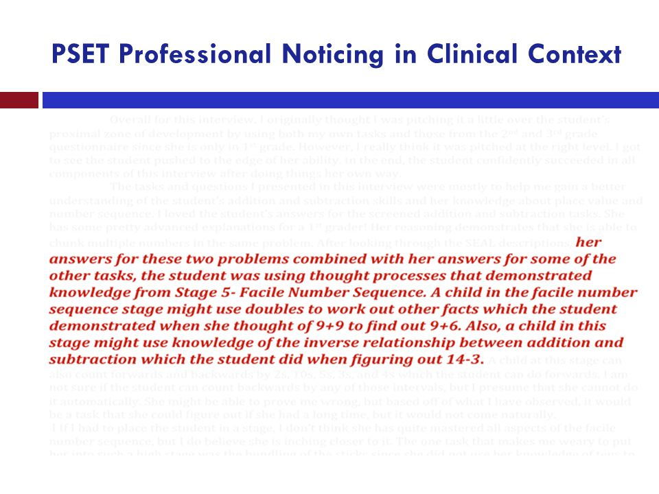 PSET Professional Noticing in Clinical Context
