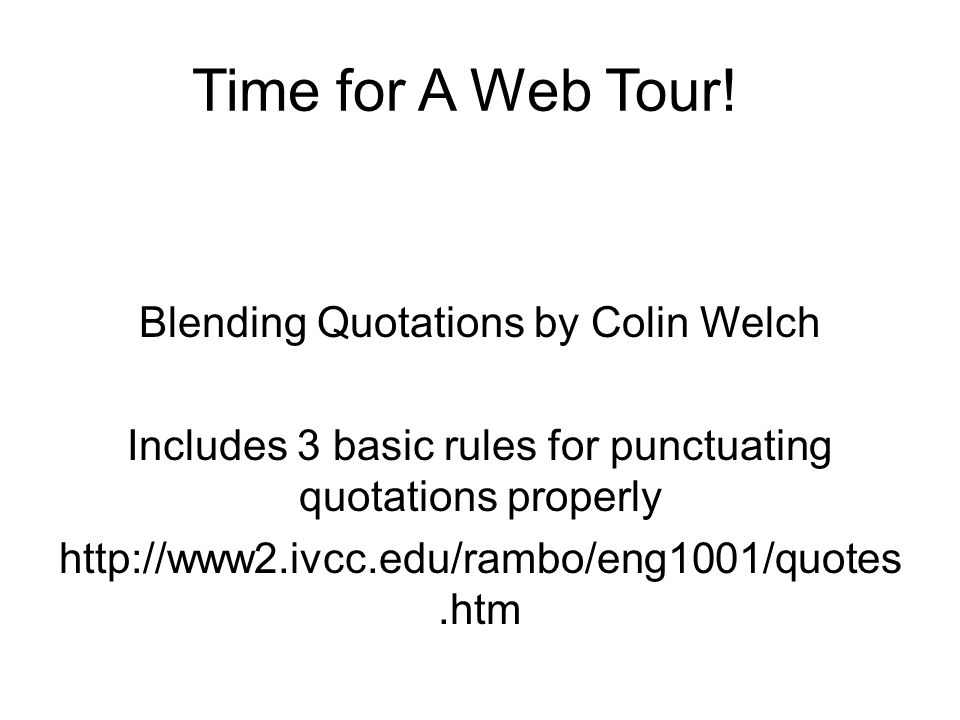 Time for A Web Tour.