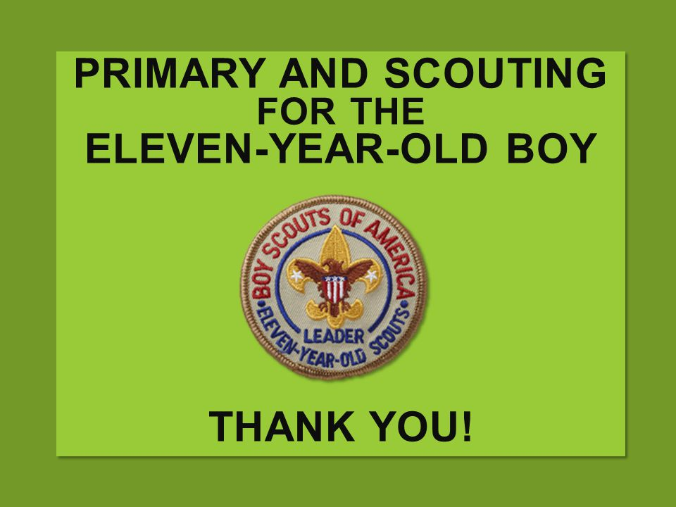 PRIMARY AND SCOUTING FOR THE ELEVEN-YEAR-OLD BOY THANK YOU!