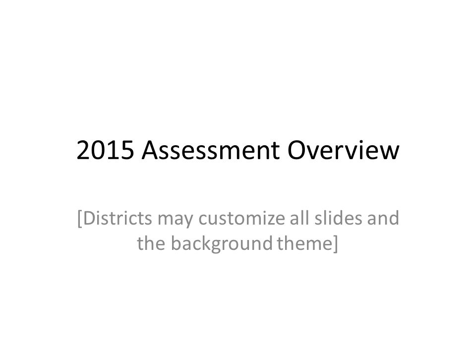 2015 Assessment Overview [Districts may customize all slides and the background theme]