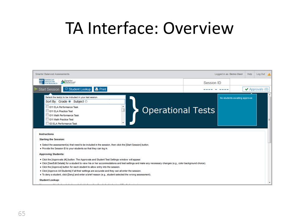 TA Interface: Overview 65