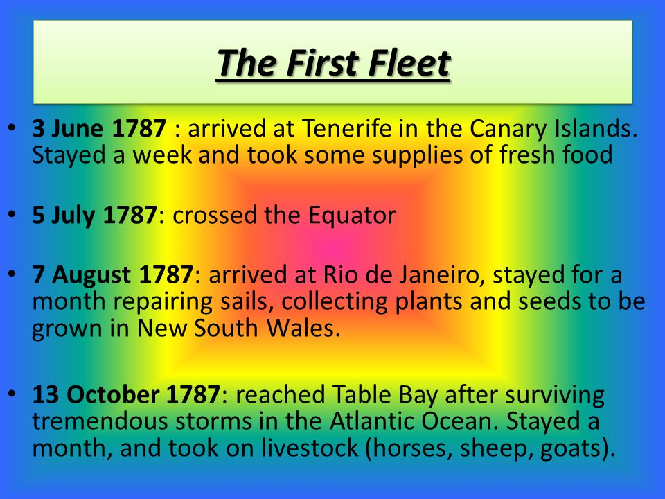 Voyage of The First Fleet Rio de Janeiro Portsmouth, England. Tenerife at Canary Islands. Equator Table Bay (now known as Cape Town) Adventure Bay, Va