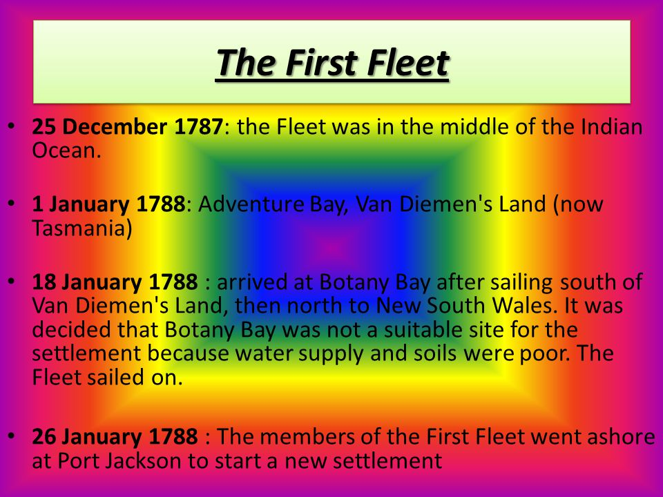 The First Fleet 3 June 1787 : arrived at Tenerife in the Canary Islands.