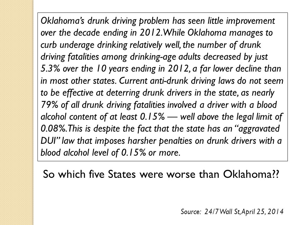Oklahoma's drunk driving problem has seen little improvement over the decade ending in 2012.