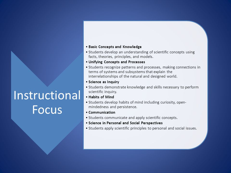 Instructional Focus Basic Concepts and Knowledge Students develop an understanding of scientific concepts using facts, theories, principles, and model