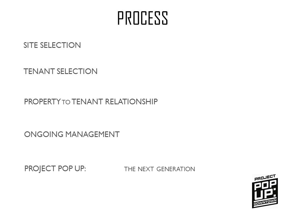 SITE SELECTION PROCESS TENANT SELECTION ONGOING MANAGEMENT PROJECT POP UP: THE NEXT GENERATION PROPERTY TO TENANT RELATIONSHIP