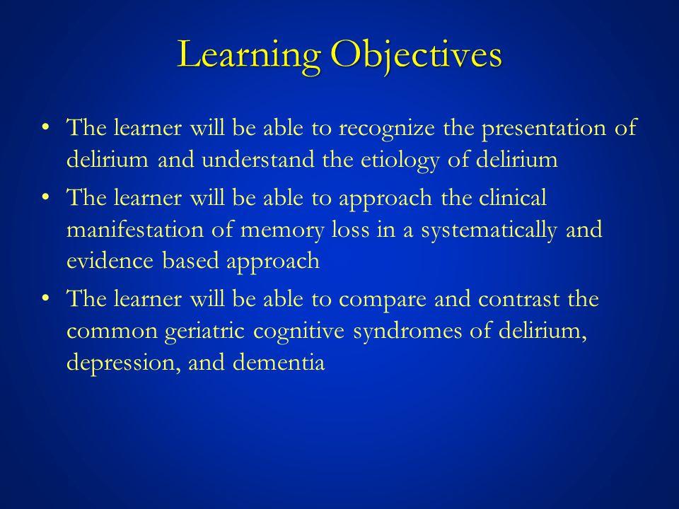 Delirium, Depression, Dementia: Fully Reversed Memory Loss Data from: Weytingh MD, Bossuyt PM, van Crevel H.