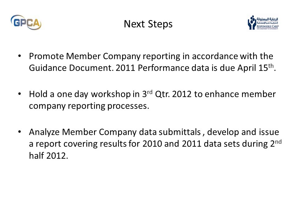 Next Steps Promote Member Company reporting in accordance with the Guidance Document.