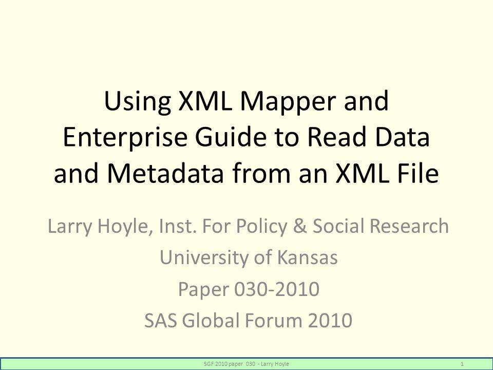 New Program Node – Aggregate Variable Info SGF 2010 paper 030 - Larry Hoyle42