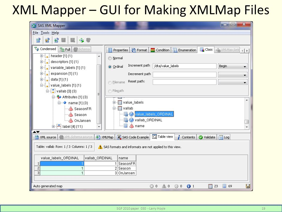 XML Mapper – GUI for Making XMLMap Files SGF 2010 paper 030 - Larry Hoyle19