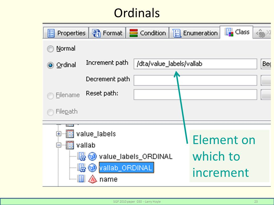 Ordinals SGF 2010 paper 030 - Larry Hoyle23 Element on which to increment