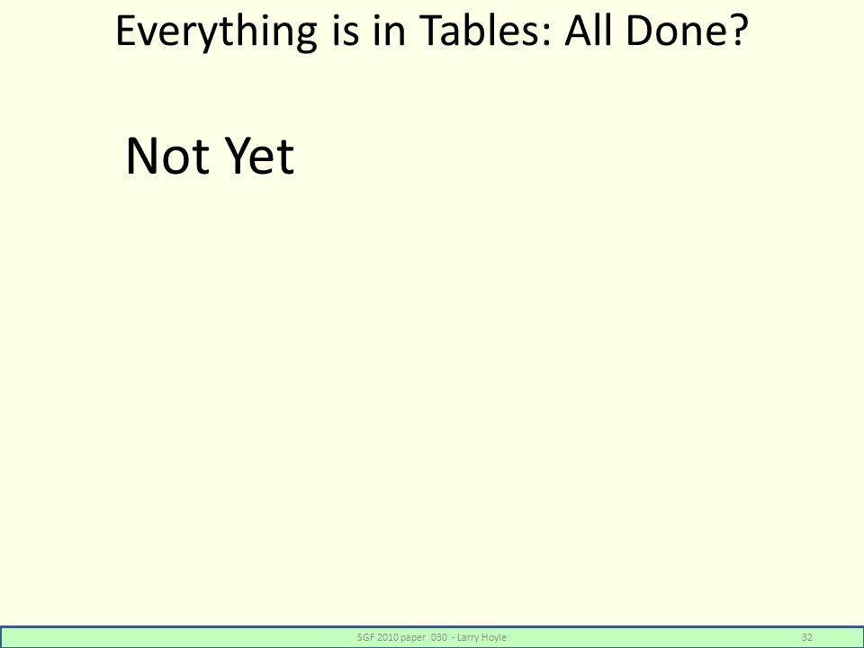 Everything is in Tables: All Done? SGF 2010 paper 030 - Larry Hoyle32 Not Yet