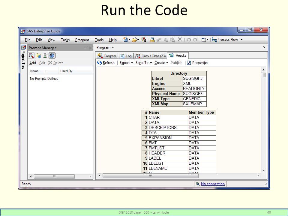 Run the Code SGF 2010 paper 030 - Larry Hoyle40