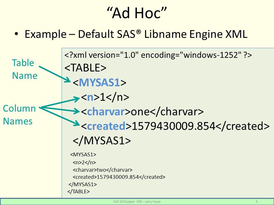 XML Mapper – Table Preview SGF 2010 paper 030 - Larry Hoyle26