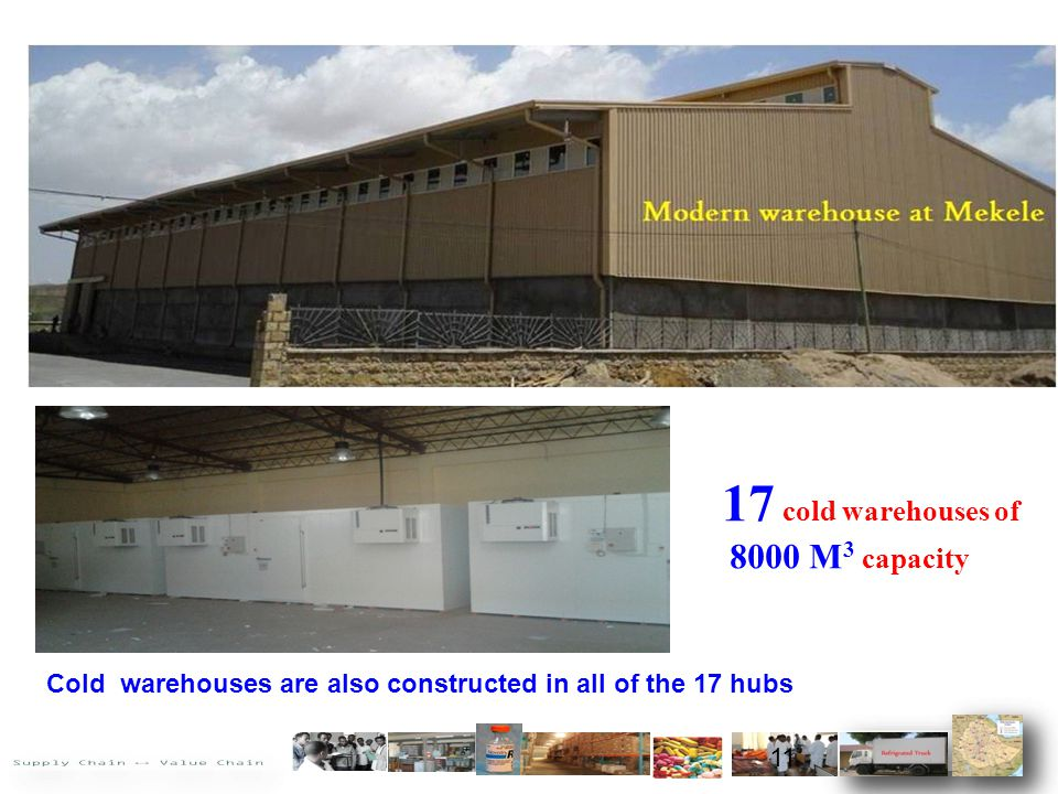 17 cold warehouses of 8000 M 3 capacity Cold warehouses are also constructed in all of the 17 hubs 11