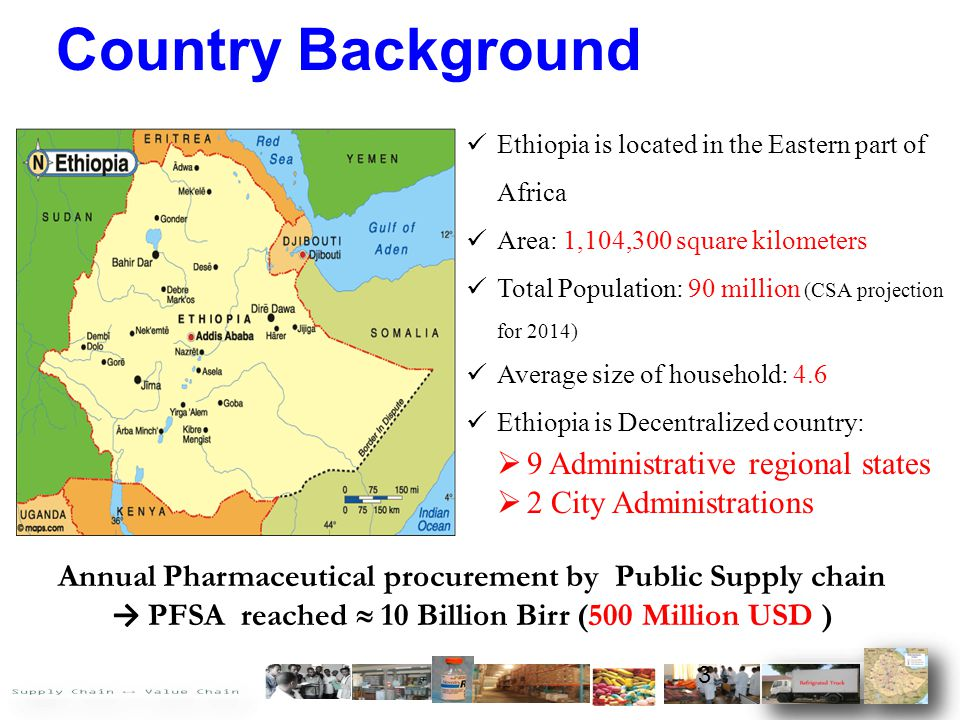 Country Background Ethiopia is located in the Eastern part of Africa Area: 1,104,300 square kilometers Total Population: 90 million (CSA projection fo