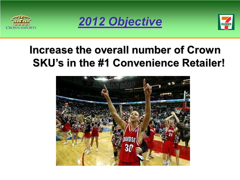 2012 Objective Increase the overall number of Crown SKU's in the #1 Convenience Retailer!