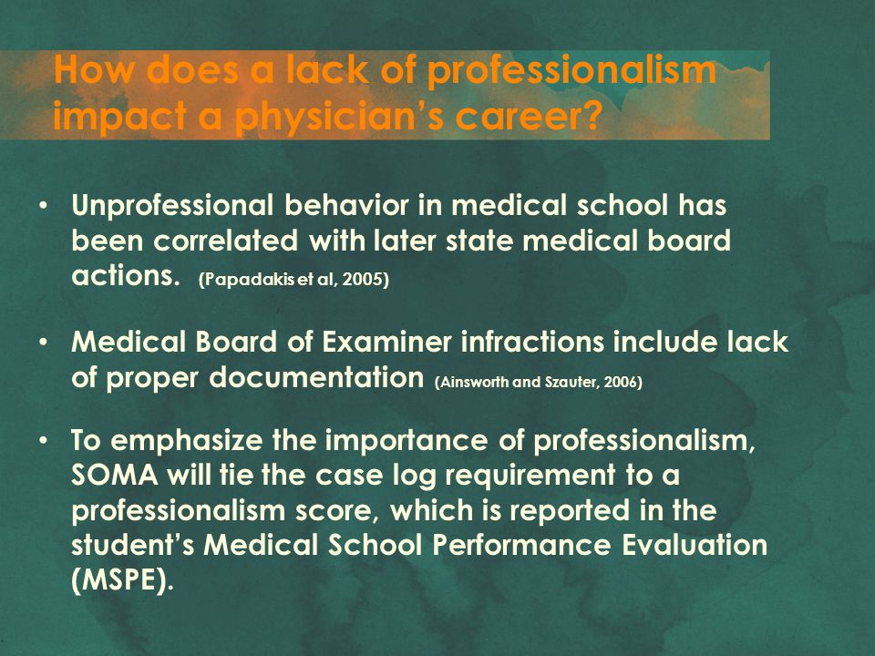 How does a lack of professionalism impact a physician's career? Unprofessional behavior in medical school has been correlated with later state medical
