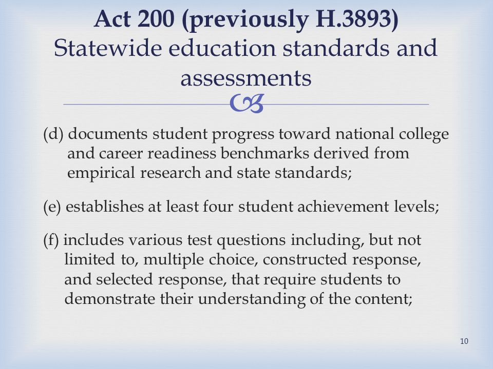  (d) documents student progress toward national college and career readiness benchmarks derived from empirical research and state standards; (e) establishes at least four student achievement levels; (f) includes various test questions including, but not limited to, multiple choice, constructed response, and selected response, that require students to demonstrate their understanding of the content; Act 200 (previously H.3893) Statewide education standards and assessments 10