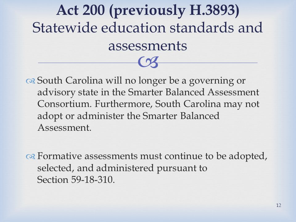   South Carolina will no longer be a governing or advisory state in the Smarter Balanced Assessment Consortium.