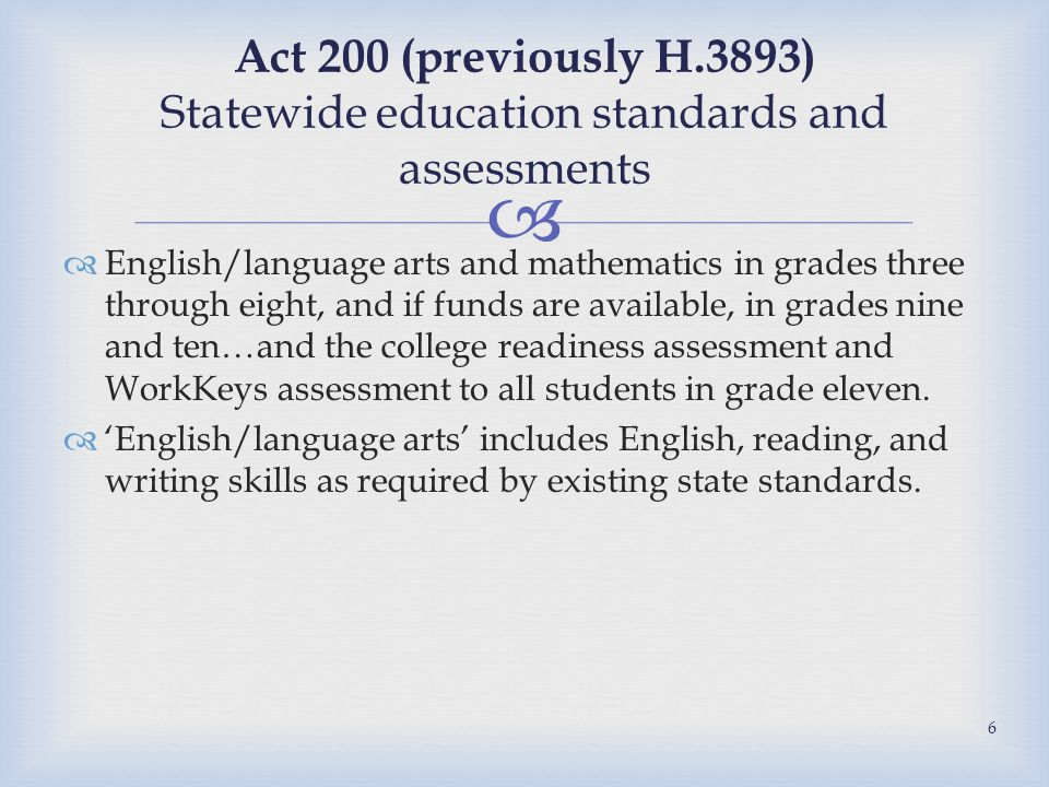   English/language arts and mathematics in grades three through eight, and if funds are available, in grades nine and ten…and the college readiness assessment and WorkKeys assessment to all students in grade eleven.