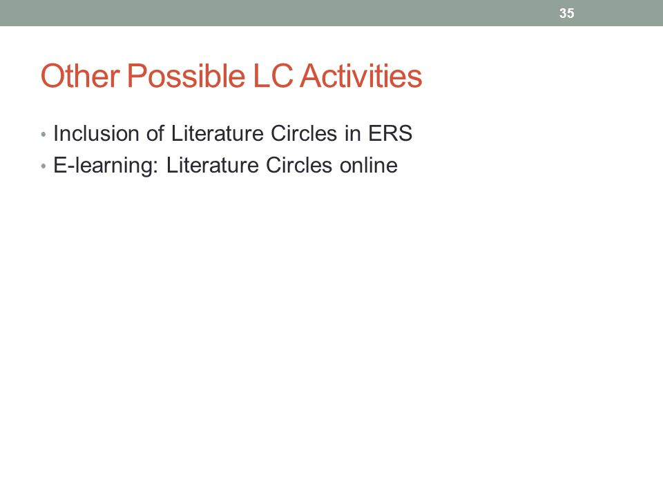 Other Possible LC Activities Inclusion of Literature Circles in ERS E-learning: Literature Circles online 35