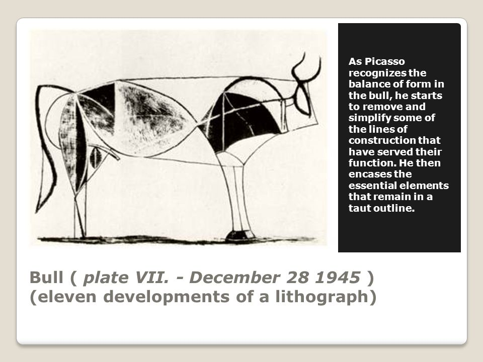 Bull ( plate VIII.- January 2 1946 ) (eleven developments of a lithograph) Plate VIII.