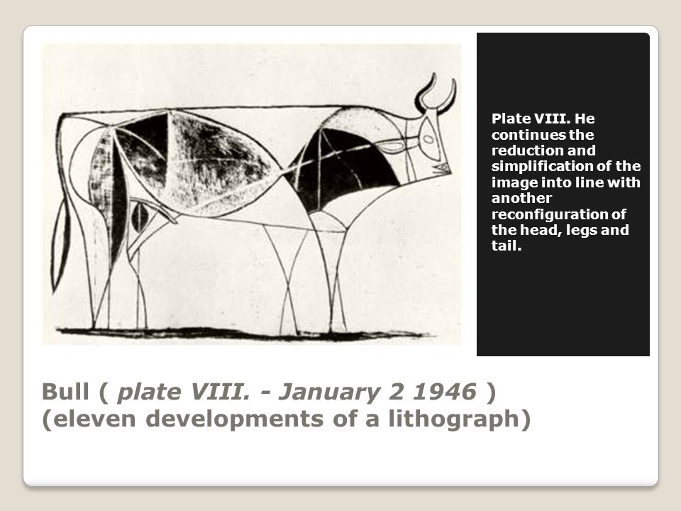 Bull ( plate VIII. - January 2 1946 ) (eleven developments of a lithograph) Plate VIII.