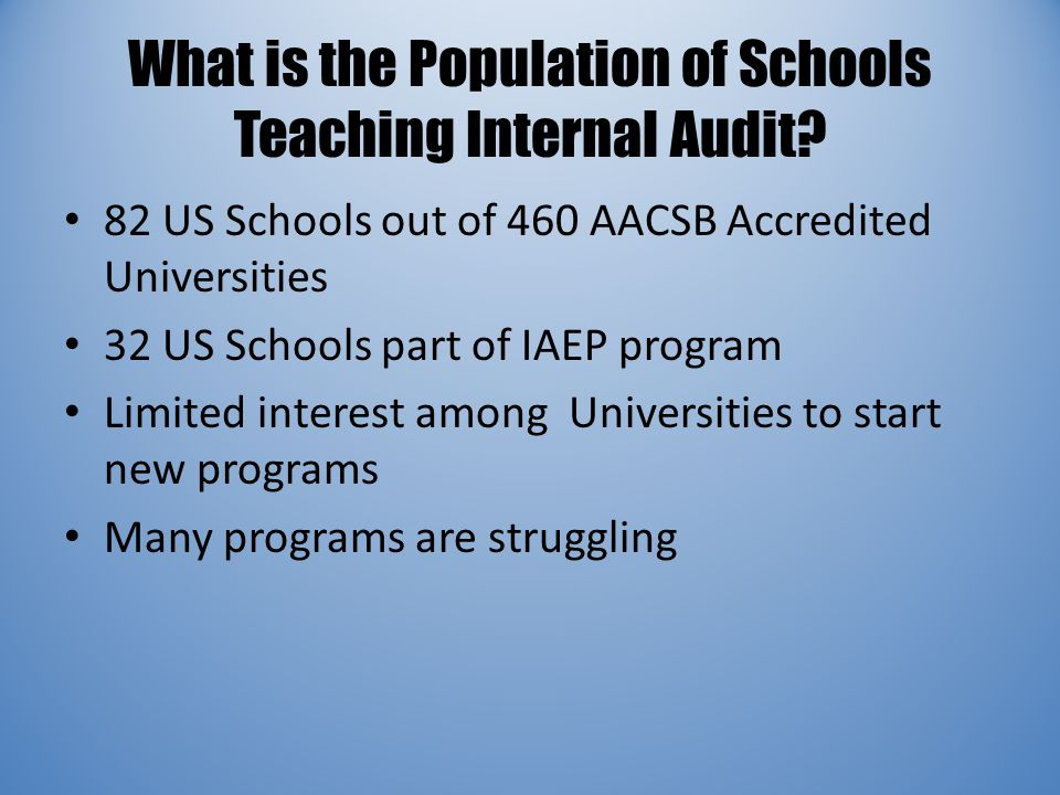 What is the Population of Schools Teaching Internal Audit? 82 US Schools out of 460 AACSB Accredited Universities 32 US Schools part of IAEP program L
