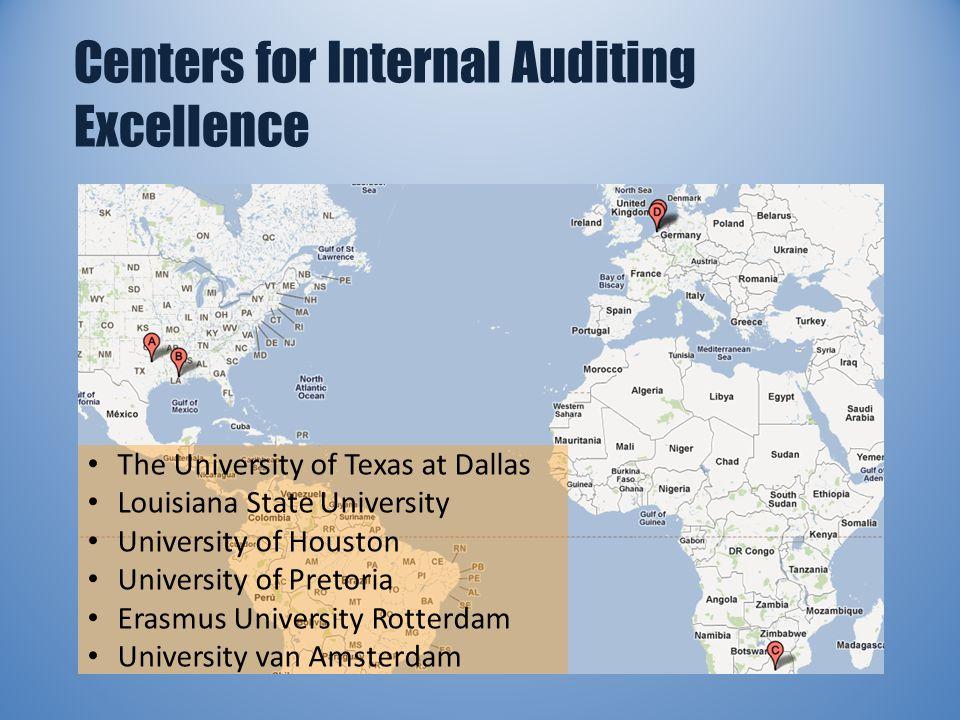 Centers for Internal Auditing Excellence The University of Texas at Dallas Louisiana State University University of Houston University of Pretoria Erasmus University Rotterdam University van Amsterdam