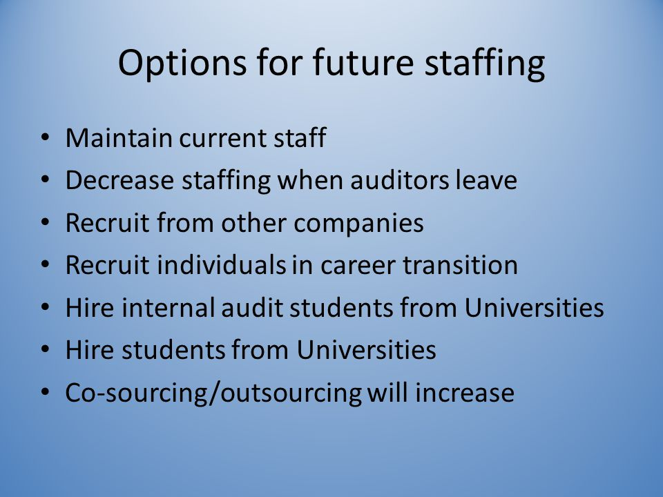 Options for future staffing Maintain current staff Decrease staffing when auditors leave Recruit from other companies Recruit individuals in career transition Hire internal audit students from Universities Hire students from Universities Co-sourcing/outsourcing will increase