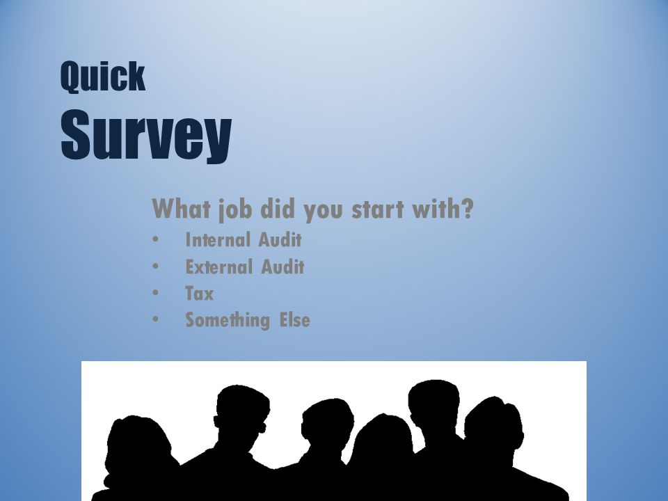Quick Survey What job did you start with Internal Audit External Audit Tax Something Else