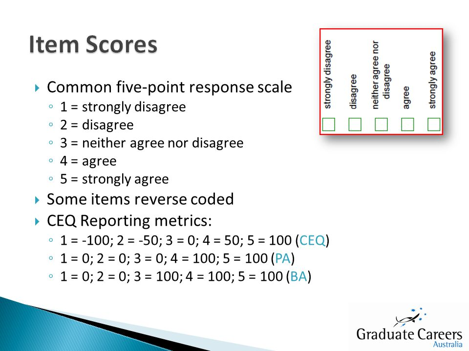 Common five-point response scale ◦ 1 = strongly disagree ◦ 2 = disagree ◦ 3 = neither agree nor disagree ◦ 4 = agree ◦ 5 = strongly agree  Some items reverse coded  CEQ Reporting metrics: ◦ 1 = -100; 2 = -50; 3 = 0; 4 = 50; 5 = 100 (CEQ) ◦ 1 = 0; 2 = 0; 3 = 0; 4 = 100; 5 = 100 (PA) ◦ 1 = 0; 2 = 0; 3 = 100; 4 = 100; 5 = 100 (BA)